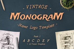 Vintage Monogram Logo Template No. 1
