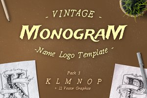 Vintage Monogram Logo Template No. 3