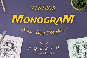 Vintage Monogram Logo Template No. 4