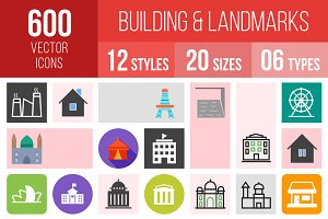600 Buildings & Landmarks Icons