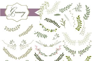 32 Laurel and Greenery Vectors