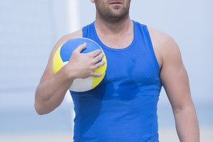 beach volley player and ball