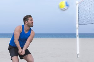 man playing beach volley