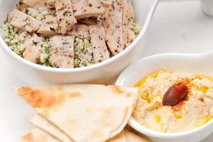 tabouli couscous  and hummus with pita bread 01.jpg