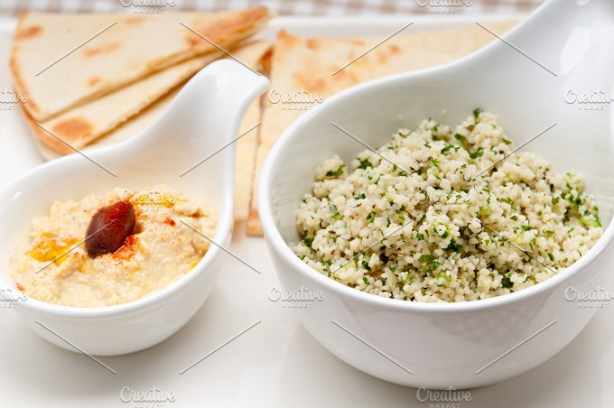 tabouli couscous and hummus with pita bread 02.jpg - Food & Drink