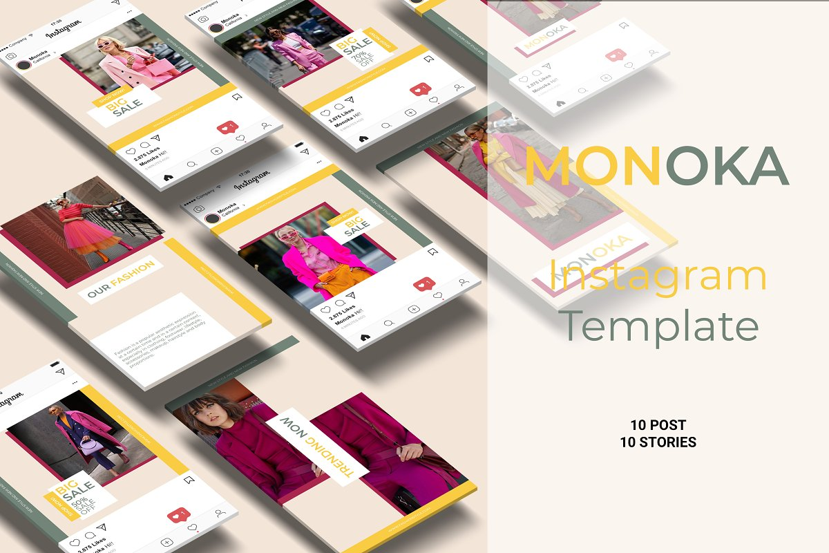 Monoka Animated Instagram Post&Story in Instagram Templates