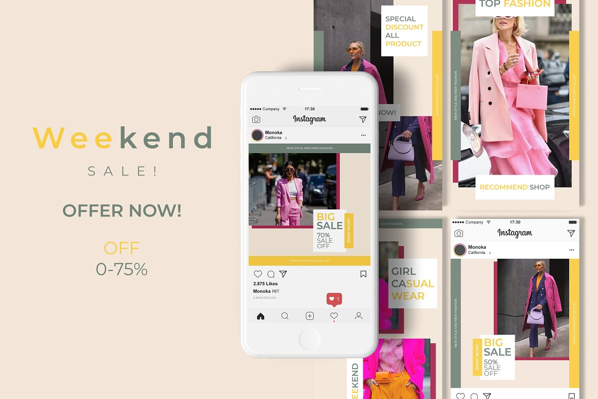 Monoka Animated Instagram Post&Story in Instagram Templates - product preview 6
