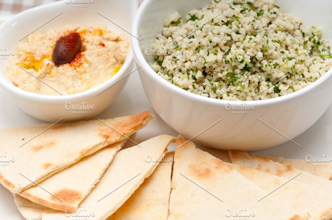 tabouli couscous and hummus with pita bread 05.jpg - Food & Drink
