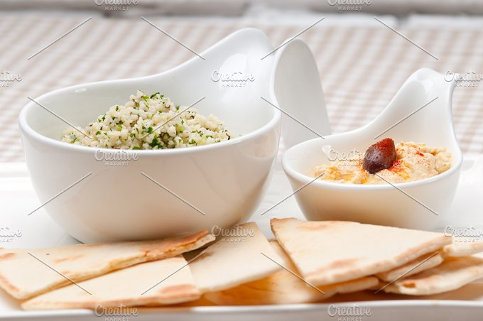 tabouli couscous and hummus with pita bread 10.jpg - Food & Drink