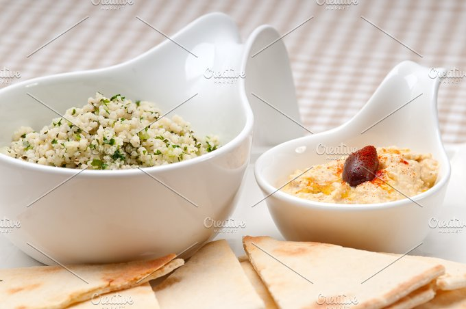 tabouli couscous and hummus with pita bread 11.jpg - Food & Drink