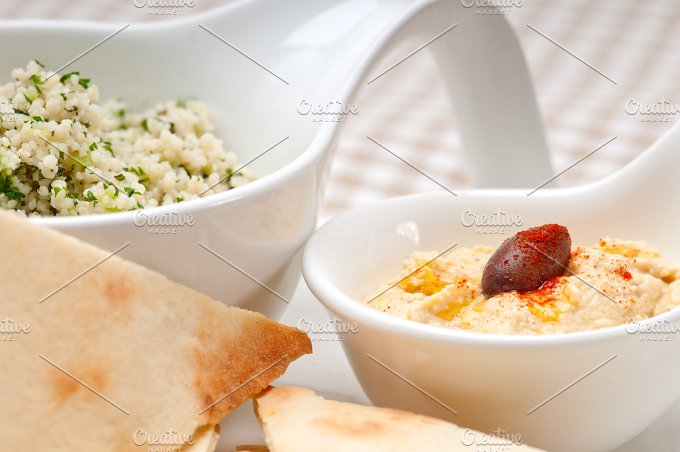 tabouli couscous and hummus with pita bread 18.jpg - Food & Drink