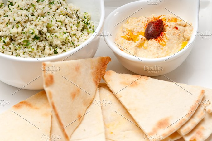 tabouli couscous and hummus with pita bread 20.jpg - Food & Drink