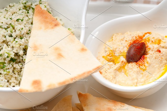 tabouli couscous and hummus with pita bread 21.jpg - Food & Drink