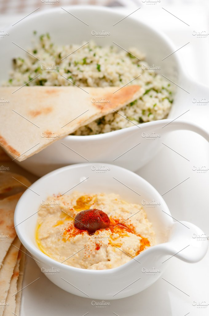 tabouli couscous and hummus with pita bread 23.jpg - Food & Drink