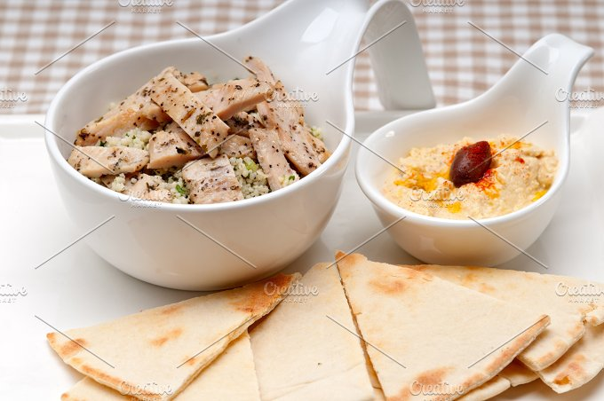 tabouli couscous and hummus with pita bread 26.jpg - Food & Drink