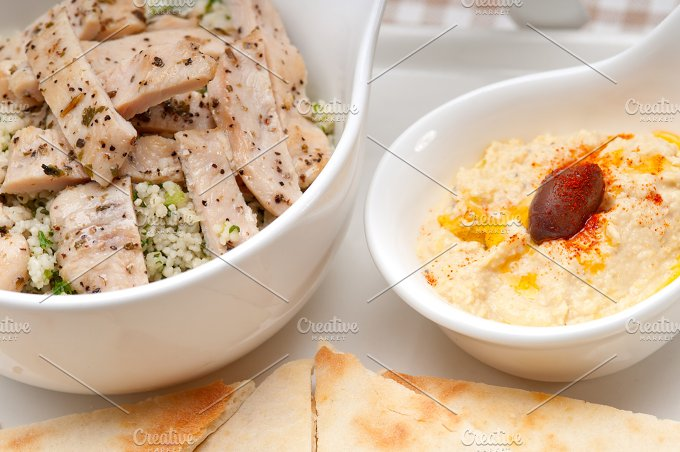 tabouli couscous and hummus with pita bread 27.jpg - Food & Drink