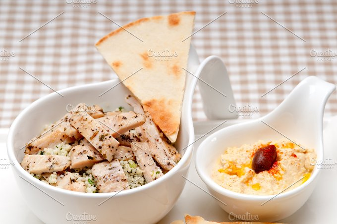 tabouli couscous and hummus with pita bread 29.jpg - Food & Drink