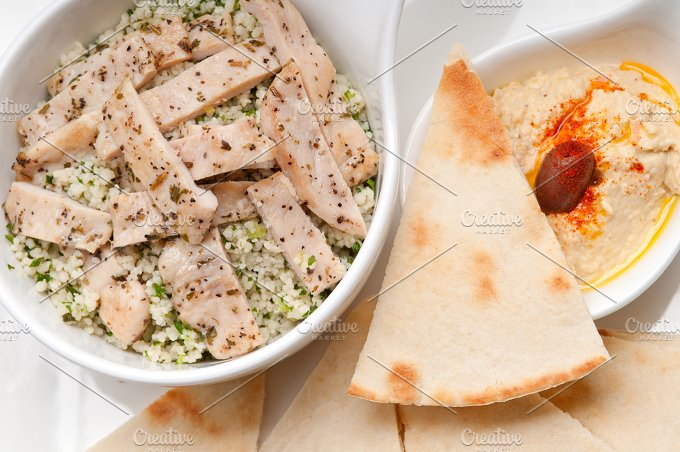 tabouli couscous and hummus with pita bread 32.jpg - Food & Drink