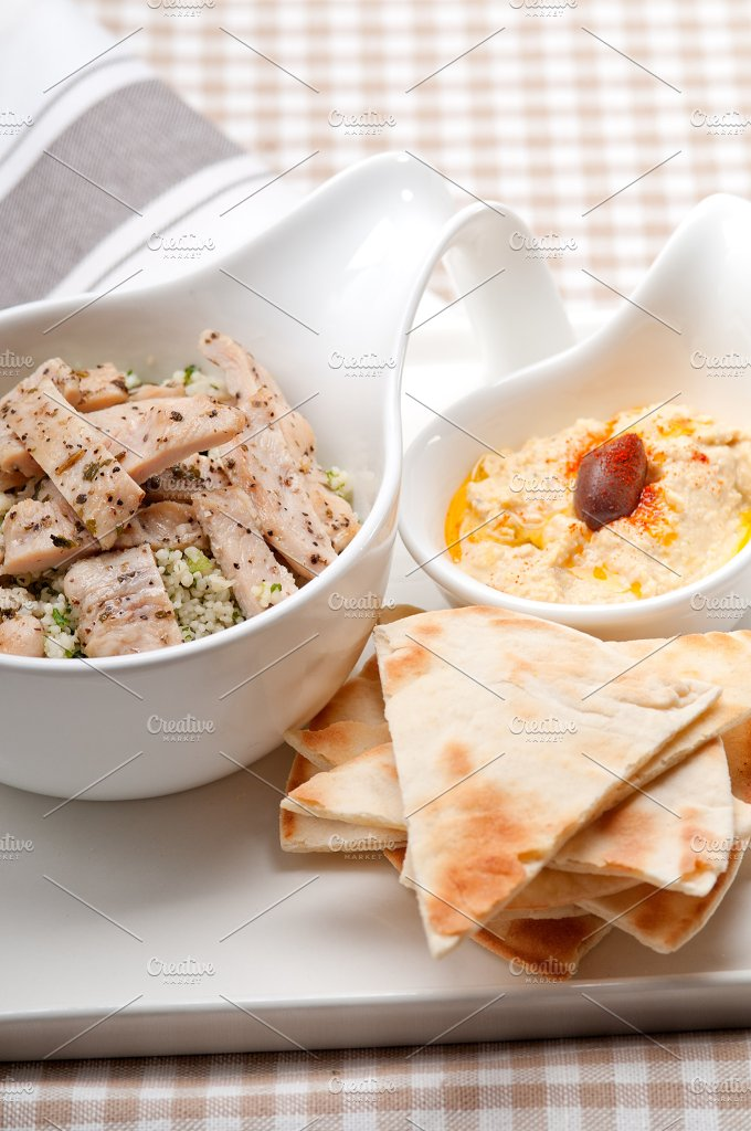tabouli couscous and hummus with pita bread 42.jpg - Food & Drink
