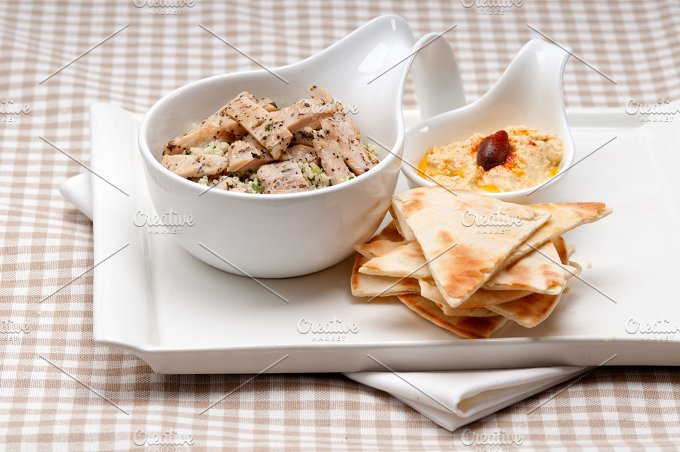 tabouli couscous and hummus with pita bread 43.jpg - Food & Drink