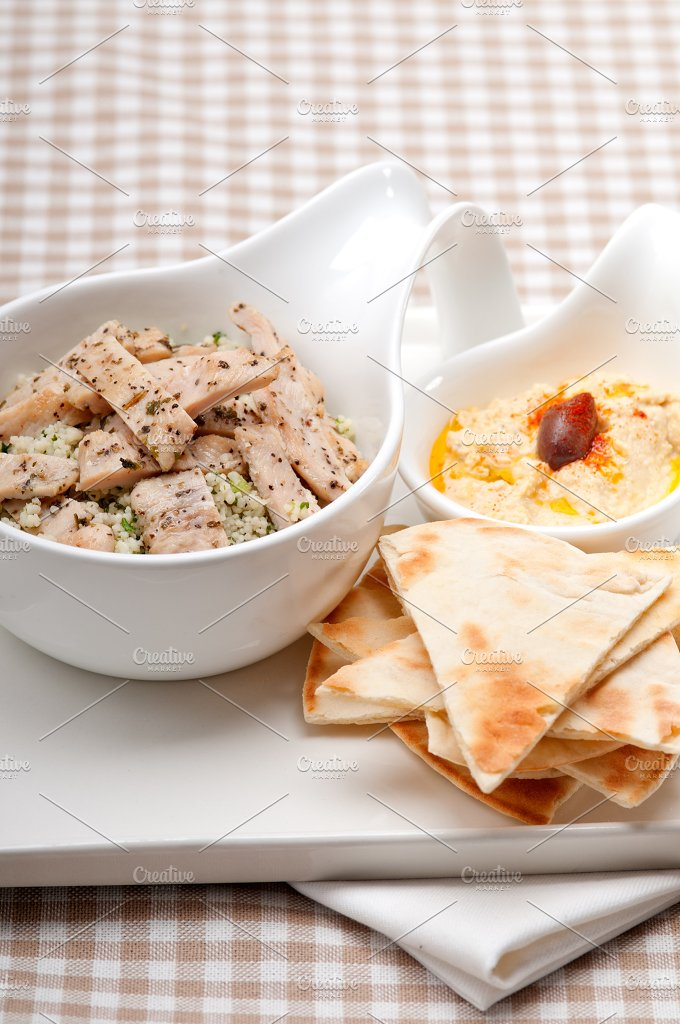 tabouli couscous and hummus with pita bread 45.jpg - Food & Drink
