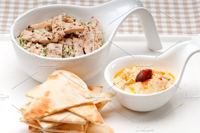 tabouli couscous and hummus with pita bread 48.jpg - Food & Drink