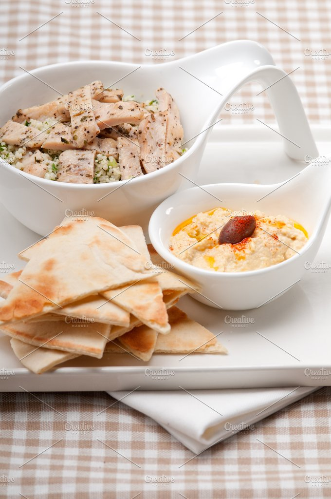 tabouli couscous and hummus with pita bread 49.jpg - Food & Drink