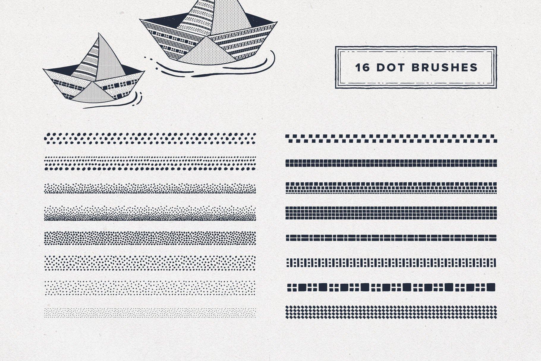 5 dot brushes 5
