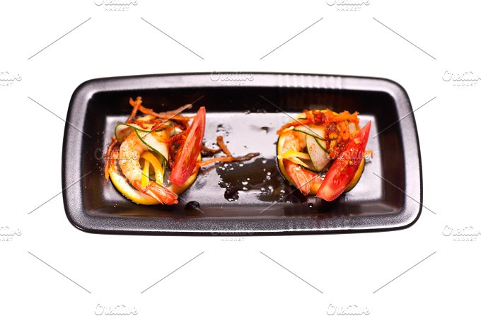 shrimps appetizer snack isolated on white 02.jpg - Food & Drink