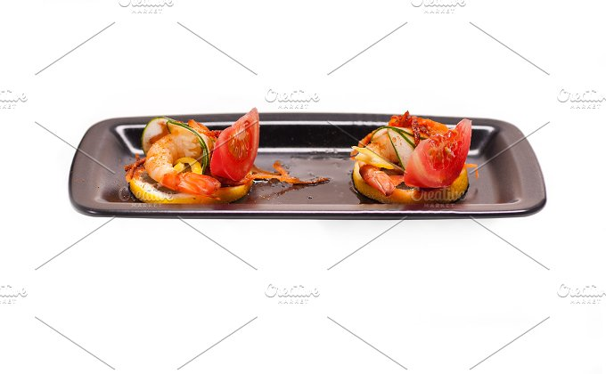 shrimps appetizer snack isolated on white 01.jpg - Food & Drink