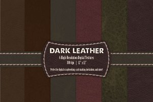 6 Dark Leather Digital Textures