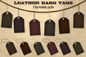 12 Dark Leather Hang Tags