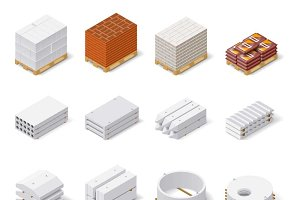 Construction materials icon set
