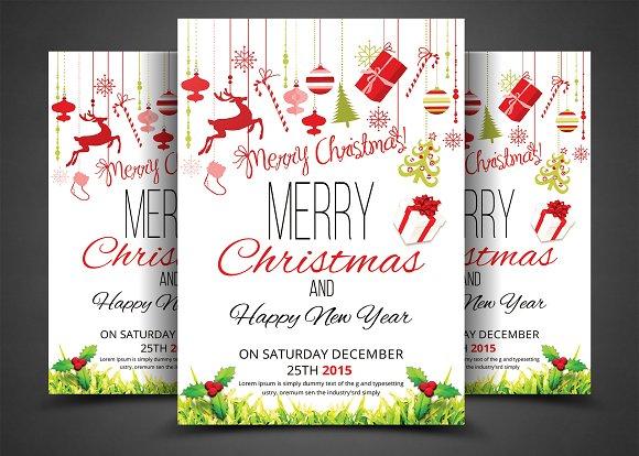 christmas party flyer invitation flyer templates creative market