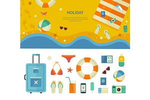 Banner and Icons of Sea Holiday