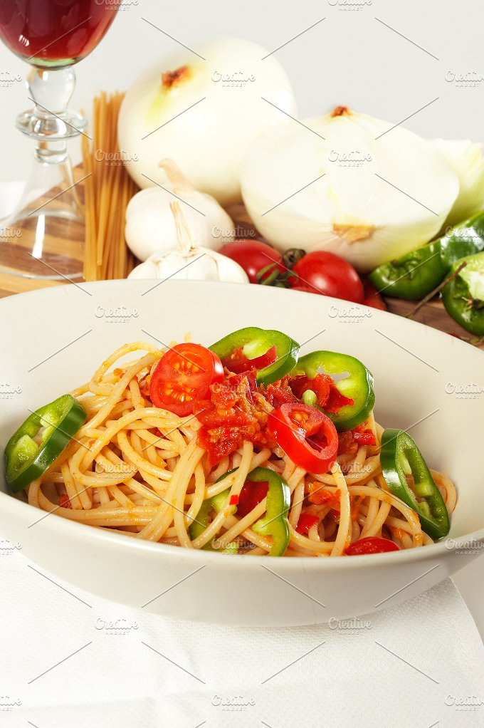 pasta tomato and green peppers 07.jpg - Food & Drink