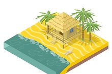 Beach real estate. House with palms