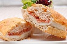 Parma ham cheese and tomato ciabatta sandwich 03.jpg