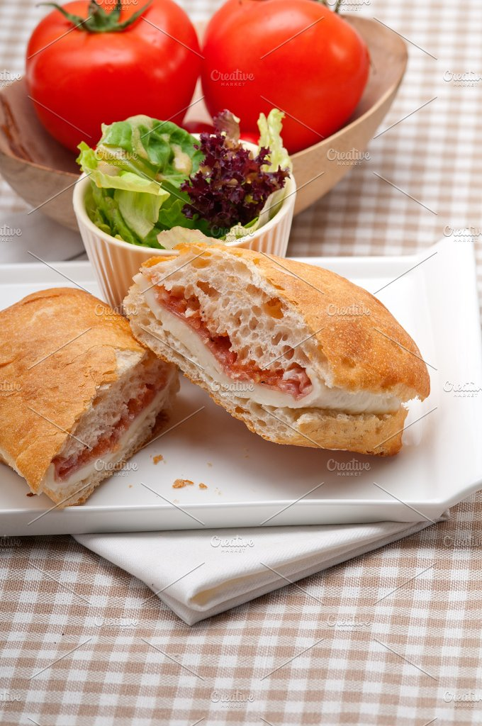 Parma ham cheese and tomato ciabatta sandwich 08.jpg - Food & Drink