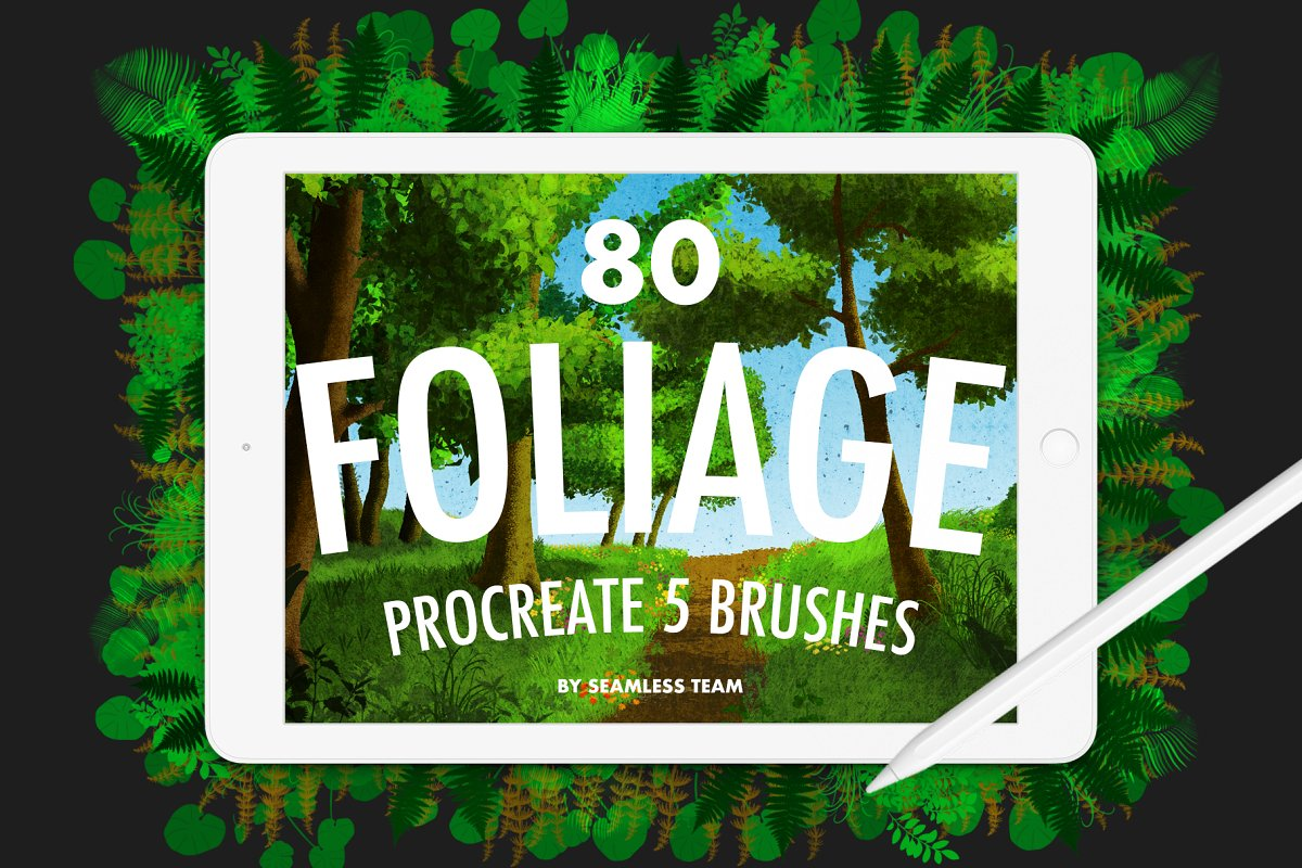 80 FOLIAGE BRUSHES FOR PROCREATE 5 in Add-Ons