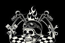 Vector biker emblem with skull