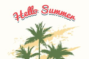 Summer illustration with palm trees