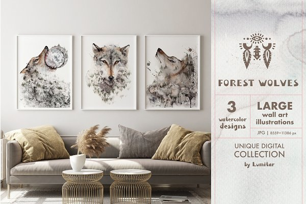 Forest Wolf. Watercolor Wall Art