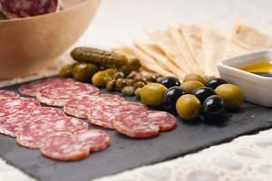 organic salame and pickles with pita bread 05.jpg
