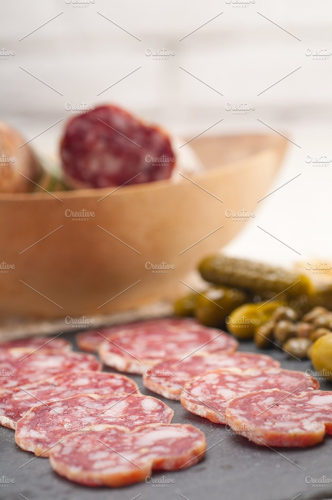 organic salame and pickles with pita bread 07.jpg - Food & Drink