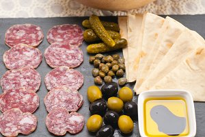 organic salame and pickles with pita bread 01.jpg