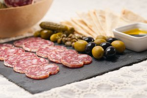 organic salame and pickles with pita bread 06.jpg