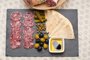 organic salame and pickles with pita bread 02.jpg