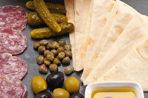 organic salame and pickles with pita bread 03.jpg