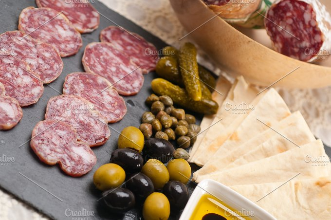 organic salame and pickles with pita bread 04.jpg - Food & Drink